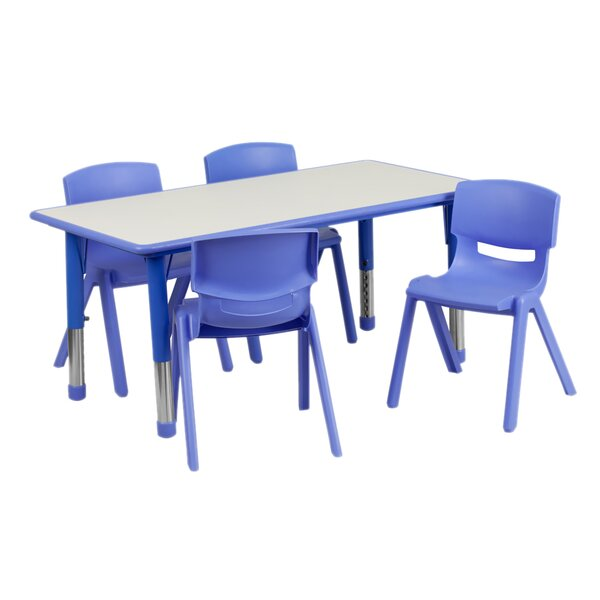 Adjustable Plastic 5 Piece Rectangular Activity Table and Chair Set by Offex