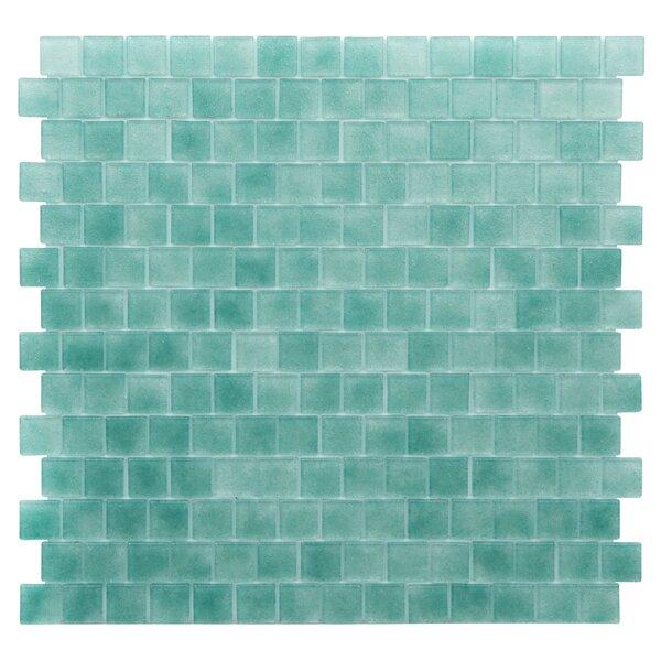 Quartz 0.75 x 0.75 Glass Mosaic Tile in Aqua/Green by Kellani