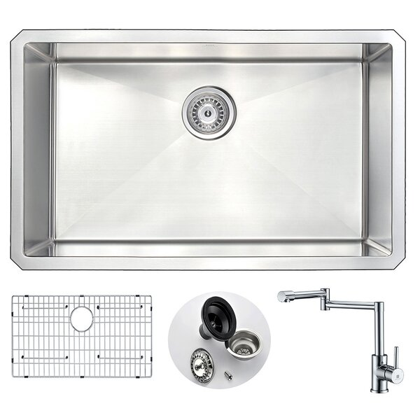 Vanguard 30 L x 18 W Single Bowl Undermount Kitchen Sink and Faucet Set with Drain Assembly by ANZZI