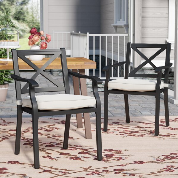 Lourdes Patio Dining Chair with Cushion by Gracie Oaks Gracie Oaks