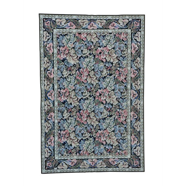 One-of-a-Kind Disalvo Needlepoint Botanical Hand-Knotted Black Area Rug by World Menagerie