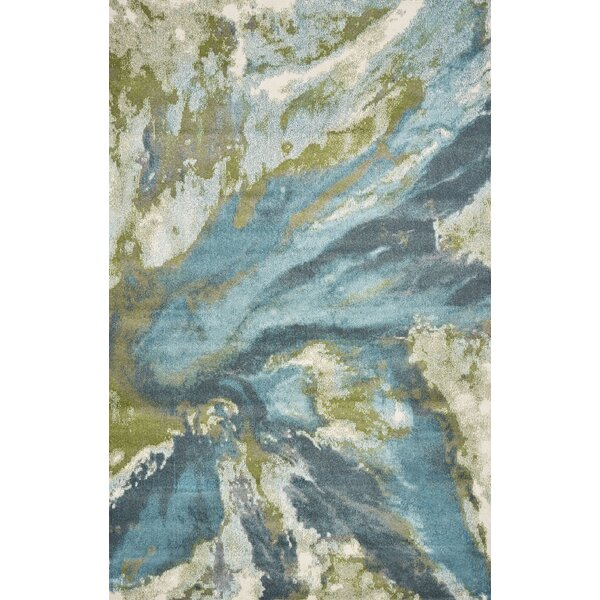 Strouth Abstract Teal/Gray Area Rug by Wrought Studio