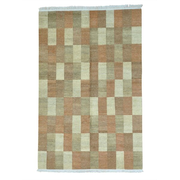 One-of-a-Kind Ferriera Natural Dyes Modern Hand-Knotted Beige/Red Area Rug by Latitude Run