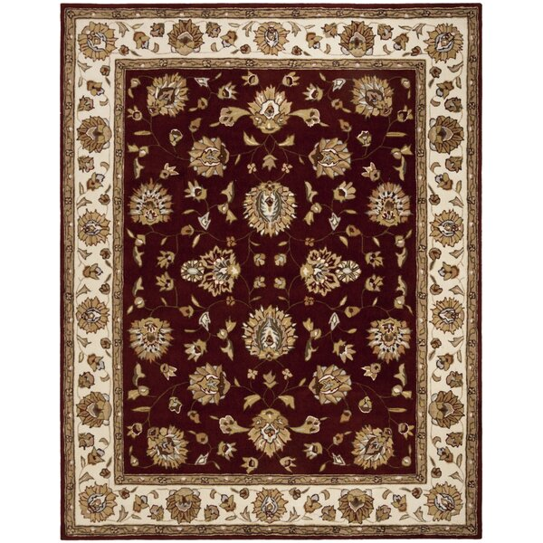 Cloverdale Hand-Hooked Burgundy Area Rug by Charlton Home