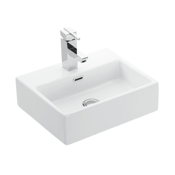 Quattro Ceramic Ceramic Rectangular Vessel Bathroom Sink with Overflow by WS Bath Collections