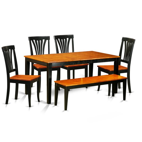 Pillar Traditional 6 Piece Wood Dining Set by August Grove