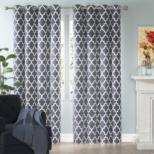 Kuhlmann Lattice Geometric Room Darkening Thermal Grommet Curtain Panels Set Of 2