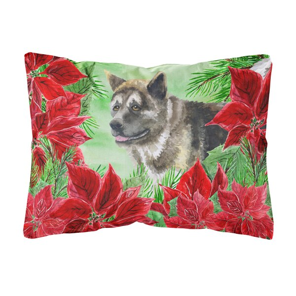 Funon American Akita Poinsettas Indoor/Outdoor Throw Pillow by The Holiday Aisle
