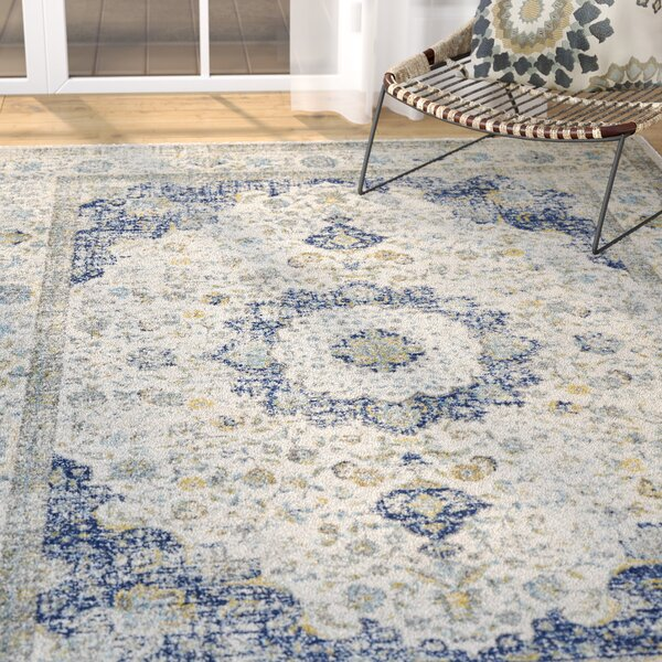 Elson Ivory & Blue Area Rug by Mistana