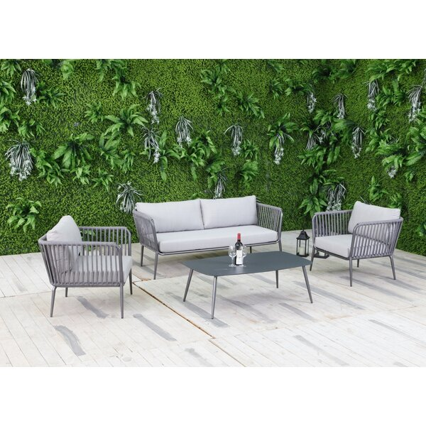 Elsie 4 Piece Sofa Set with Cushions by Bungalow Rose