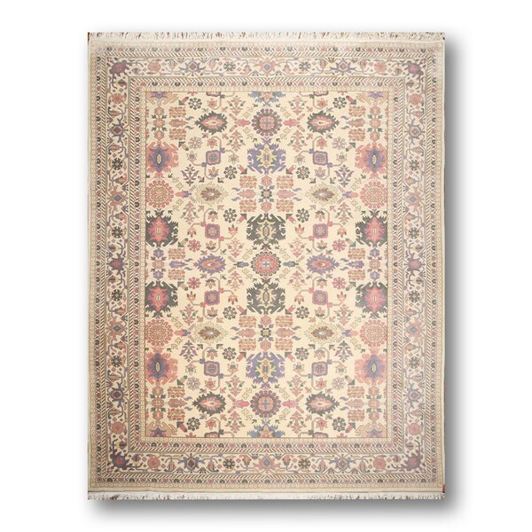 One-of-a-Kind Repass Oriental Hand-Knotted Wool Ivory/Pale Pink Area Rug by Astoria Grand