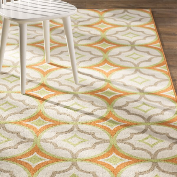 Bowman White/Orange Indoor/Outdoor Area Rug by Wrought Studio