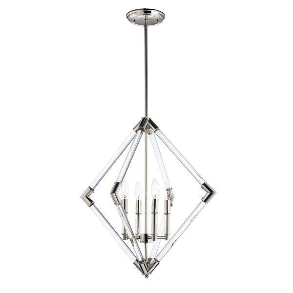 Hertel 4-Light Candle Style Geometric Chandelier by Mercer41 Mercer41