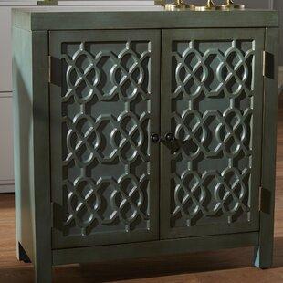 Ellzey Antiqued Quatrefoil 2 Door Accent Cabinet by Bungalow Rose