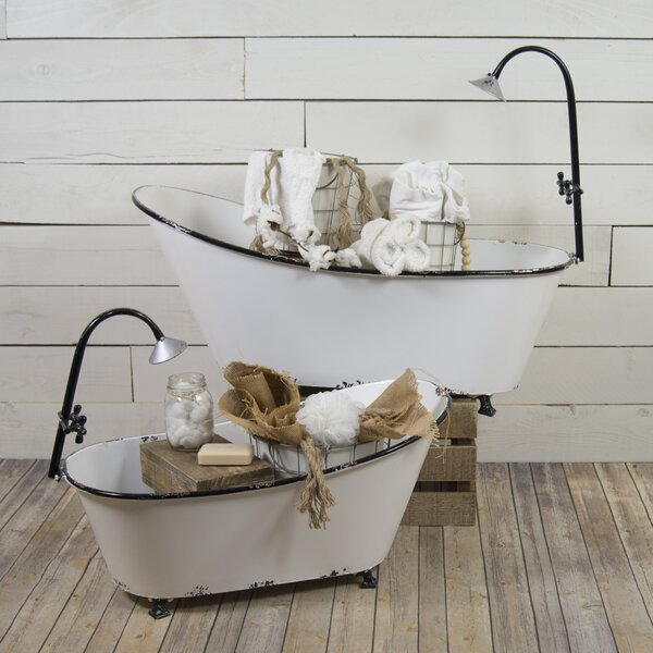 Jemma Vintage Charm Bathtub 2-Piece Metal Planter Box Set by Gracie Oaks