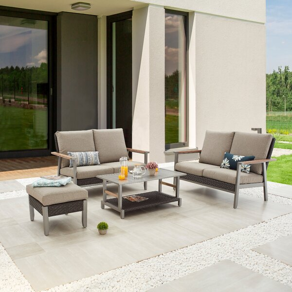 Sema Outdoor 4 Piece Sofa Seating Group with Cushions by Latitude Run