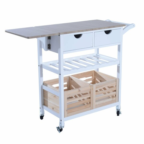 Nikolai Rolling Drop-Leaf Kitchen Cart by Winston Porter