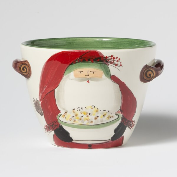 Old St. Nick Handled Deep Cereal Bowl with Popcorn
