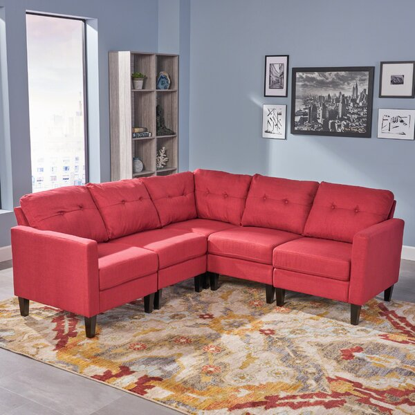 Top Design Mebane Symmetrical Mid Century Modular Sectional by Wrought Studio by Wrought Studio