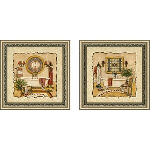 Art Deco Bath' 2 Piece Framed Acrylic Painting Print Set Under Glass by Charlton Home