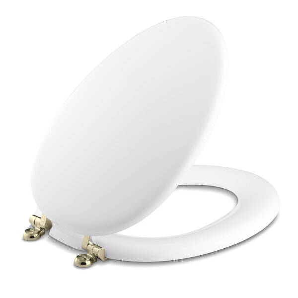 Kathryn Elongated Toilet Seat with Vibrant French Gold Hinges by Kohler