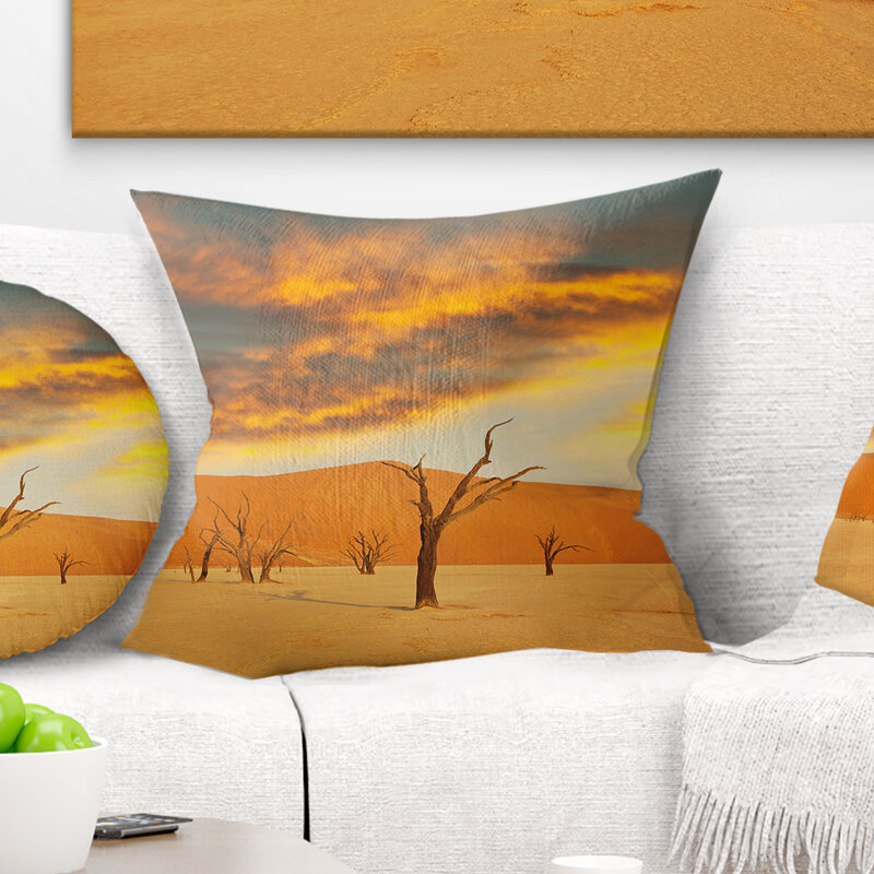 East Urban Home African Colorful Death Valley With Dry Trees Pillow