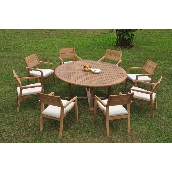 Sansome 9 Piece Teak Dining Set by Rosecliff Heights