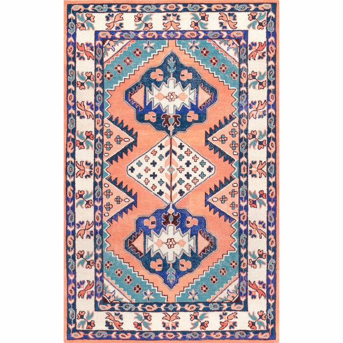 Hermanson Handmade Wool Orange Blue Area Rug