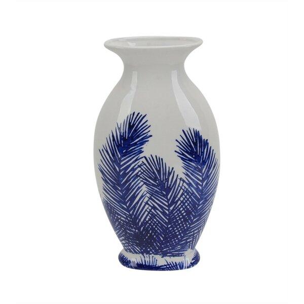 Paderne Glistening Decorative Fern Ceramic Table Vase by Canora Grey