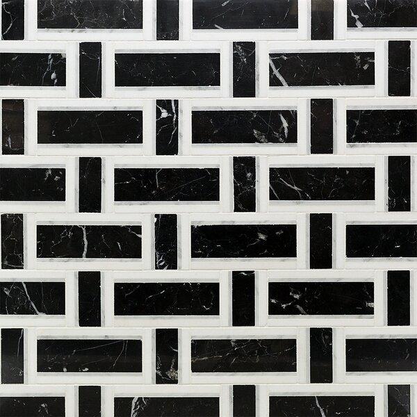 Mingle Thassos Interlocking Random Sized Marble Mosaic Tile in Nero White Carrara by Splashback Tile