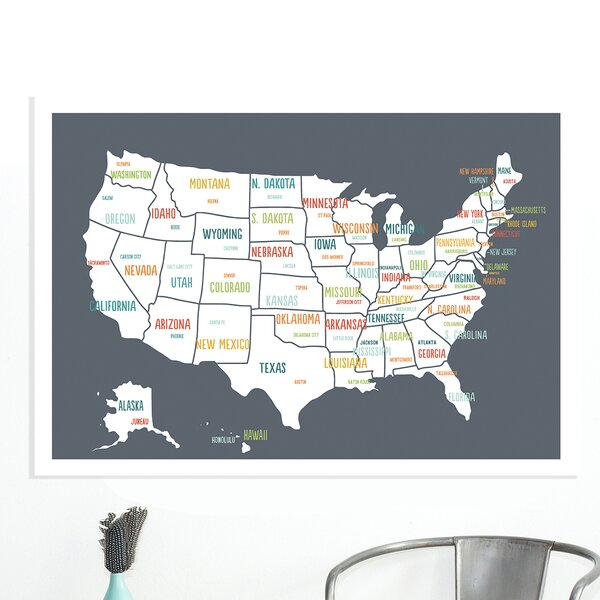 USA Map on Wrapped Canvas Art by Kindred Sol Collective