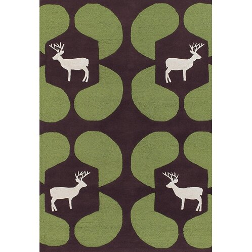 Valencia Green Deer Novelty Rug by East Urban Home