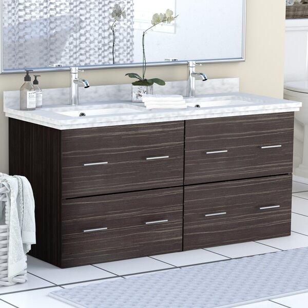 Phoebe Drilling Wall Mount 48 Double Bathroom Vanity Set