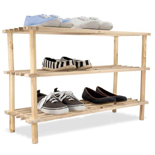 3 Tier Wood Shelf 12 Pair Shoe Rack