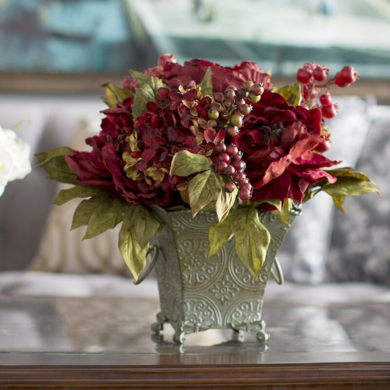 Astoria grand peony and hydrangea silk flower arrangement in rustic peony and hydrangea silk flower arrangement in rustic green bucket mightylinksfo