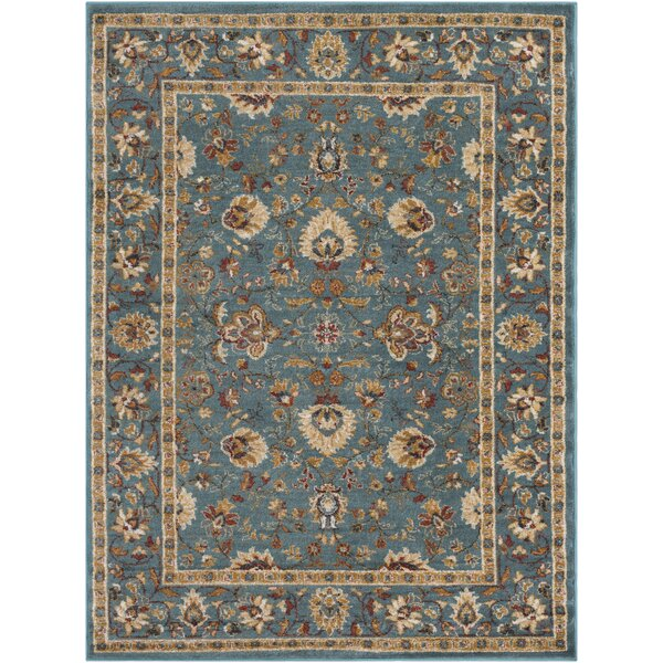 Eadie Teal/Gold Area Rug by Charlton Home