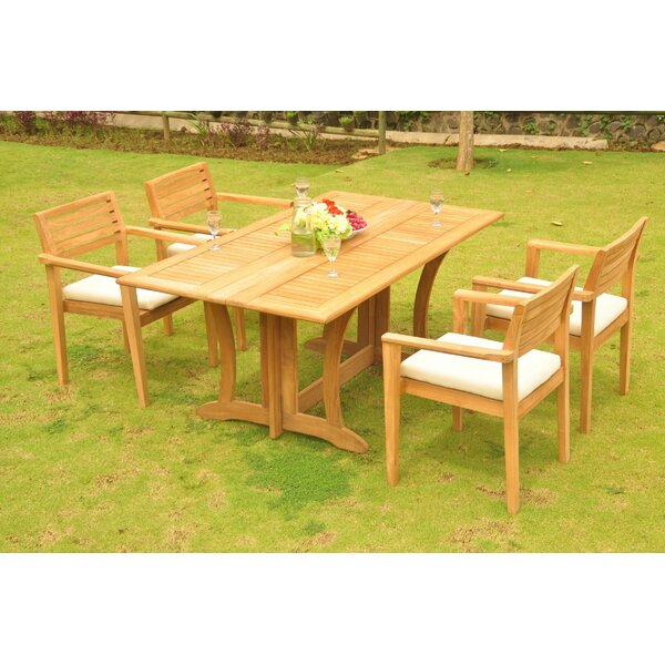 Montevia 5 Piece Teak Dining Set by Rosecliff Heights