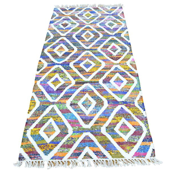 Flat Weave Kilim Hand-Knotted Cotton Blue/Green/Purple Area Rug by Bungalow Rose