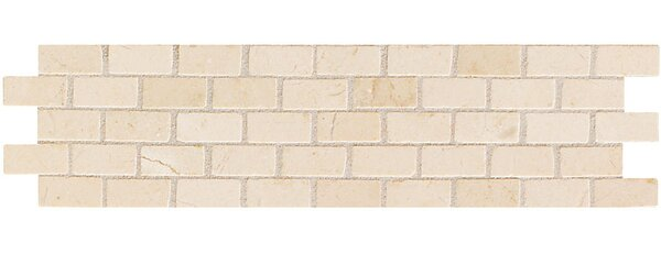 Accent Statements 3 x 12 Brick-Joint Mosaic Decorative Border in Crema Marfil by Mohawk Flooring