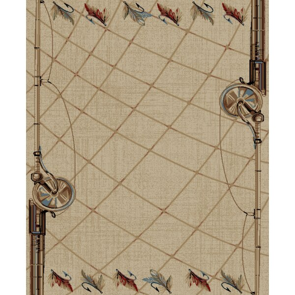 Persinger Fly Fishing Rod Rustic Lodge Beige Area Rug by Loon Peak