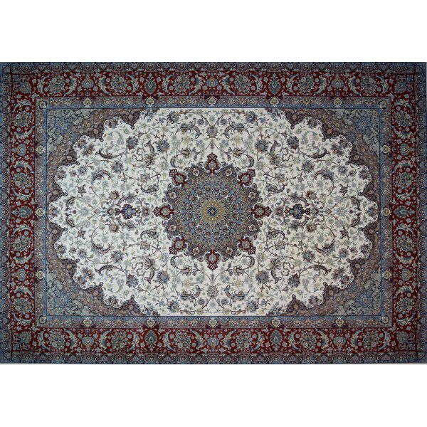 Cabrera Hand Look Persian Wool Red/Blue/Ivory Area Rug