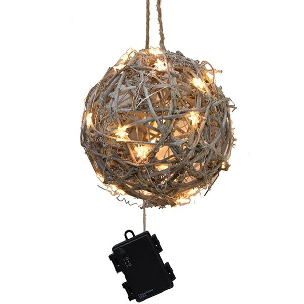 Outdoor LED Twig Ball Ornament by August Grove