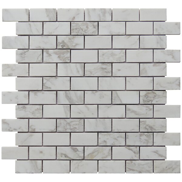 Mini Brick 1 x 2 Carrara Natural Stone Blend Mosiac Tile in White by Intrend Tile