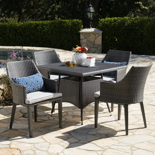 Backlund Outdoor Wicker Square 5 Piece Dining Set with Cushions by Ivy Bronx