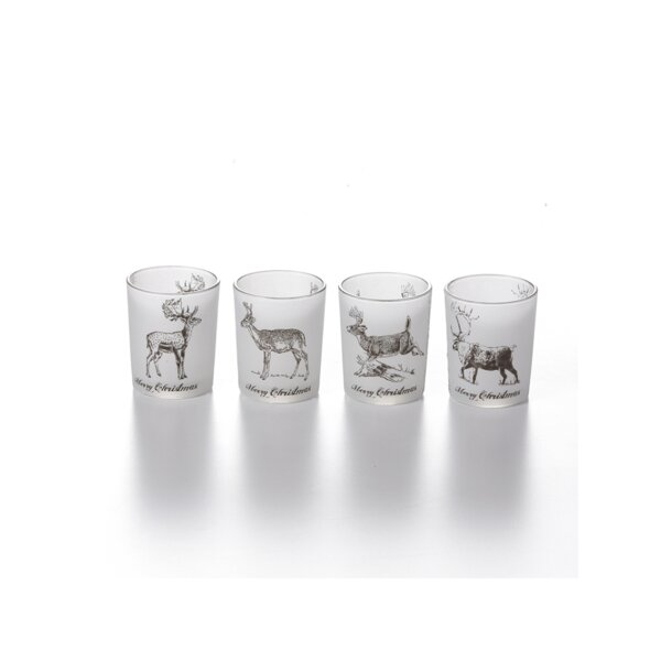 Glass Tealight Holder (Set of 4) by Millwood Pines