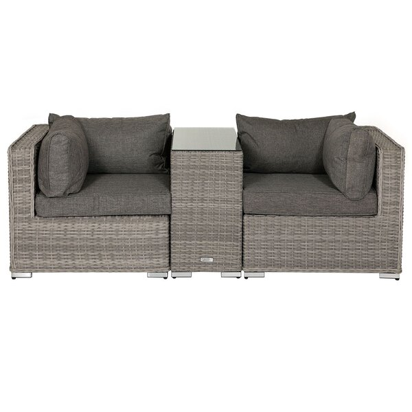 Middle 3 Piece Rattan Seating Group With Cushions By StellaHome