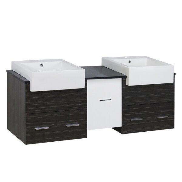 Hindman 60 Wall-Mounted Double Bathroom Vanity Set