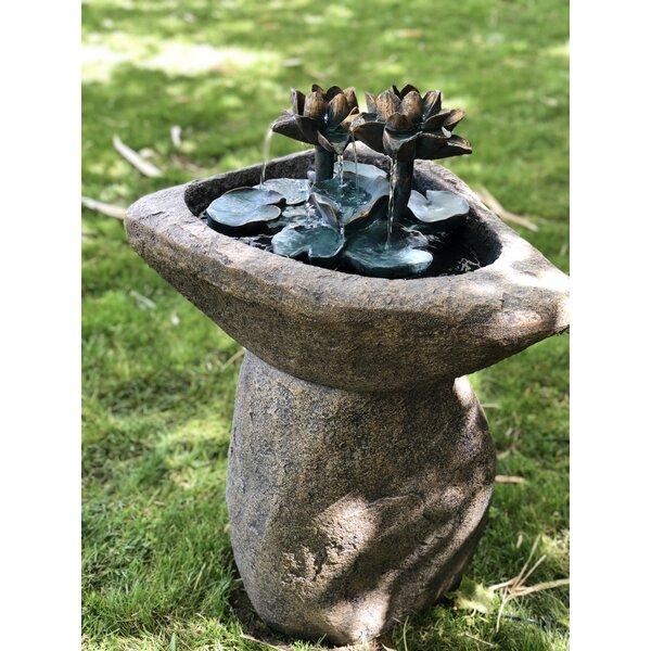 Concrete Lotus Fountain with Light by Alpine