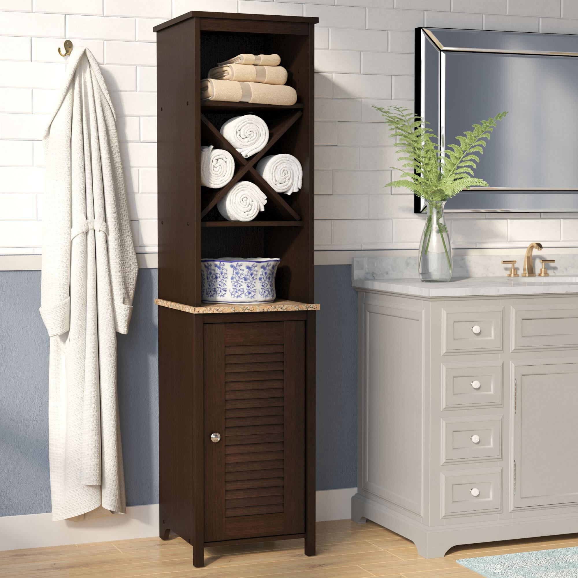 Bathroom Linen Tower White Floor Cabinet Storage Chest Organizer Shelf Furniture
