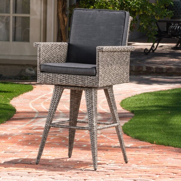 Washington 30.5-inch Patio Bar Stool With Cushion (Set Of 2) By Rosecliff Heights